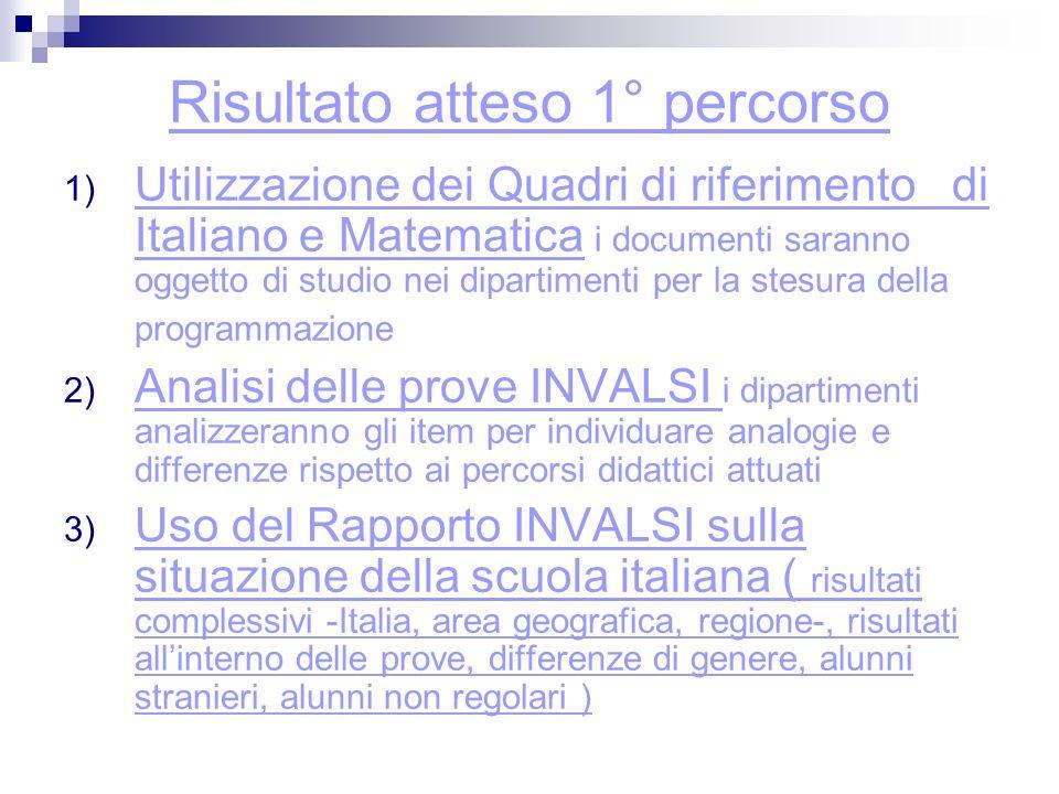 Risultato atteso 1° percorso 1) Utilizzazione dei Quadri di riferimento di Italiano e Matematica i documenti saranno oggetto di studio nei dipartimenti per la stesura della programmazione 2) Analisi delle prove INVALSI i dipartimenti analizzeranno gli item per individuare analogie e differenze rispetto ai percorsi didattici attuati 3) Uso del Rapporto INVALSI sulla situazione della scuola italiana ( risultati complessivi -Italia, area geografica, regione-, risultati allinterno delle prove, differenze di genere, alunni stranieri, alunni non regolari )