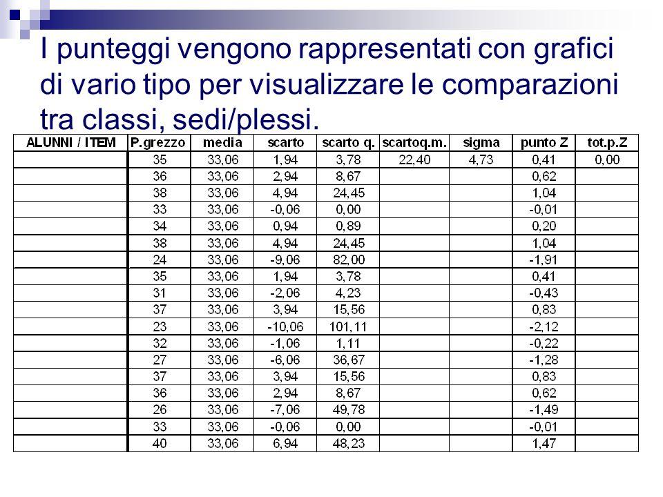 I punteggi vengono rappresentati con grafici di vario tipo per visualizzare le comparazioni tra classi, sedi/plessi.
