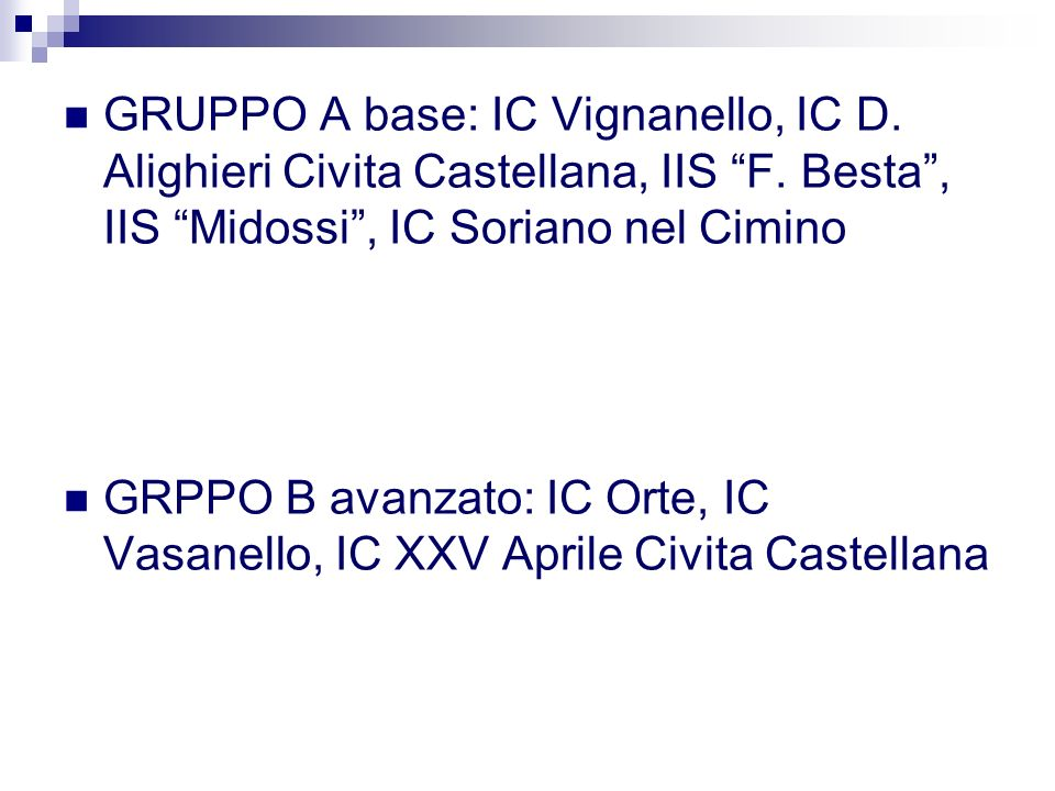 GRUPPO A base: IC Vignanello, IC D. Alighieri Civita Castellana, IIS F.
