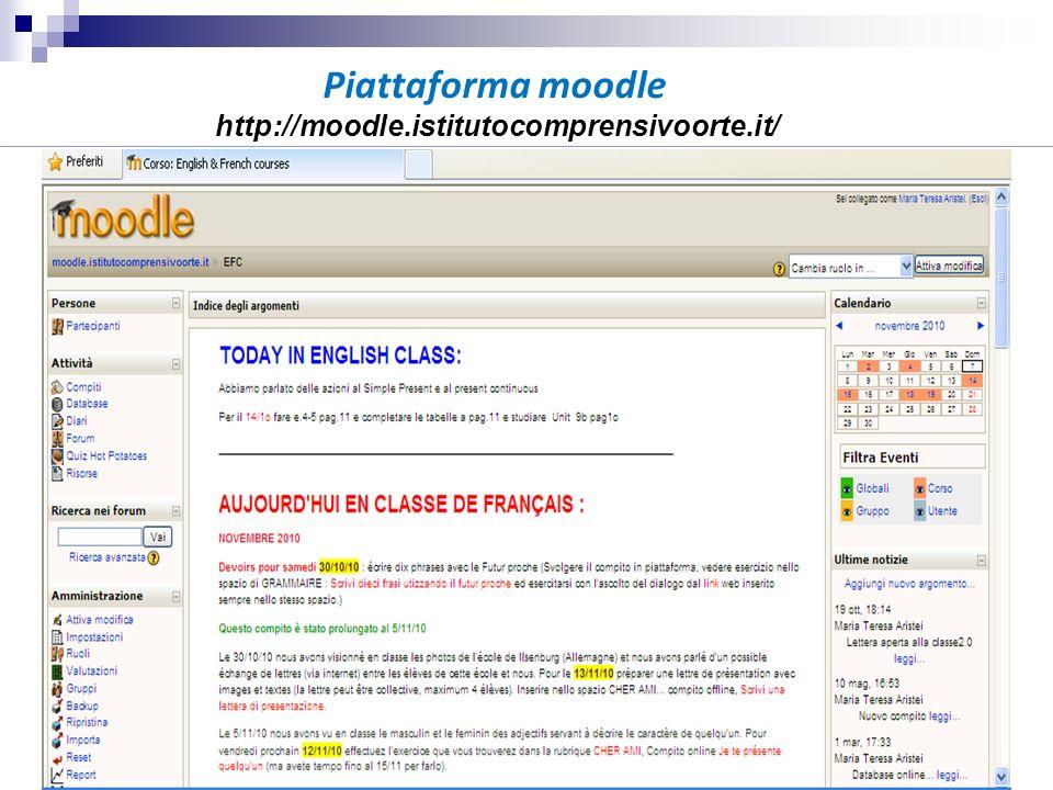 Piattaforma moodle http://moodle.istitutocomprensivoorte.it/