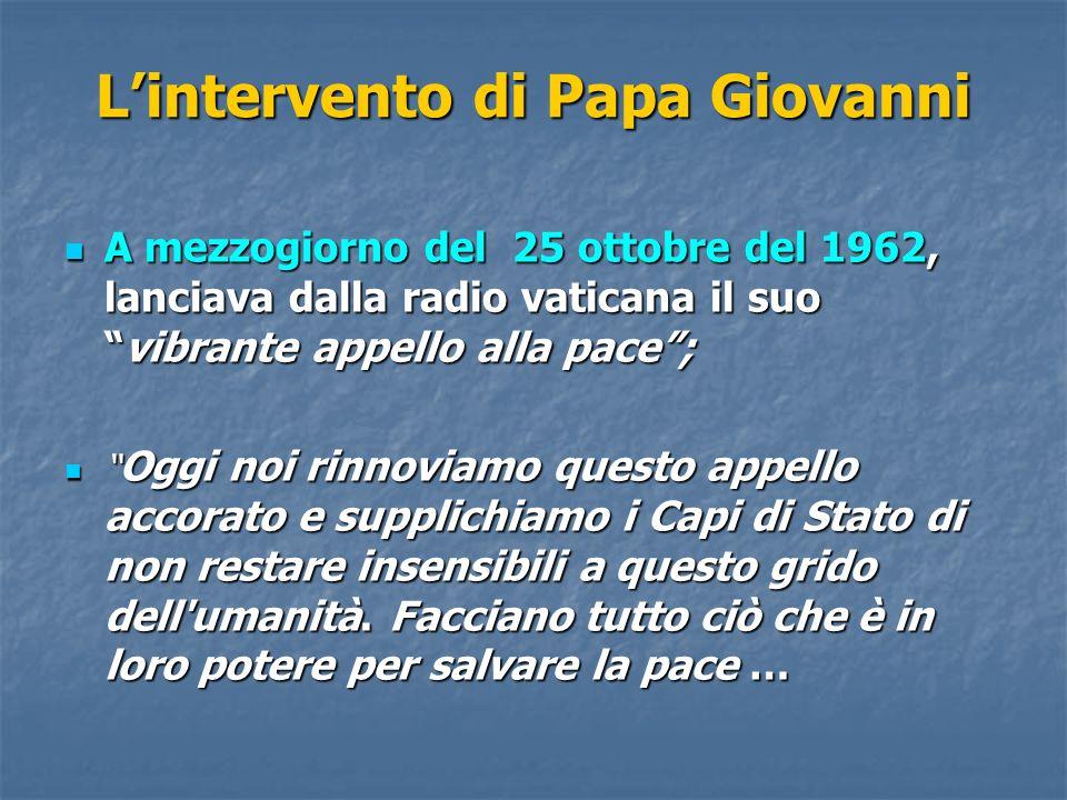 Lintervento di Papa Giovanni A mezzogiorno del 25 ottobre del 1962, lanciava dalla radio vaticana il suovibrante appello alla pace; A mezzogiorno del