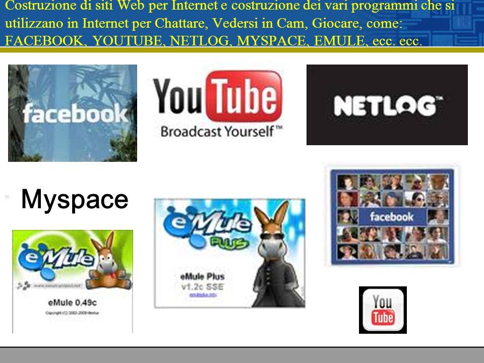 Costruzione di siti Web per Internet e costruzione dei vari programmi che si utilizzano in Internet per Chattare, Vedersi in Cam, Giocare, come: FACEB