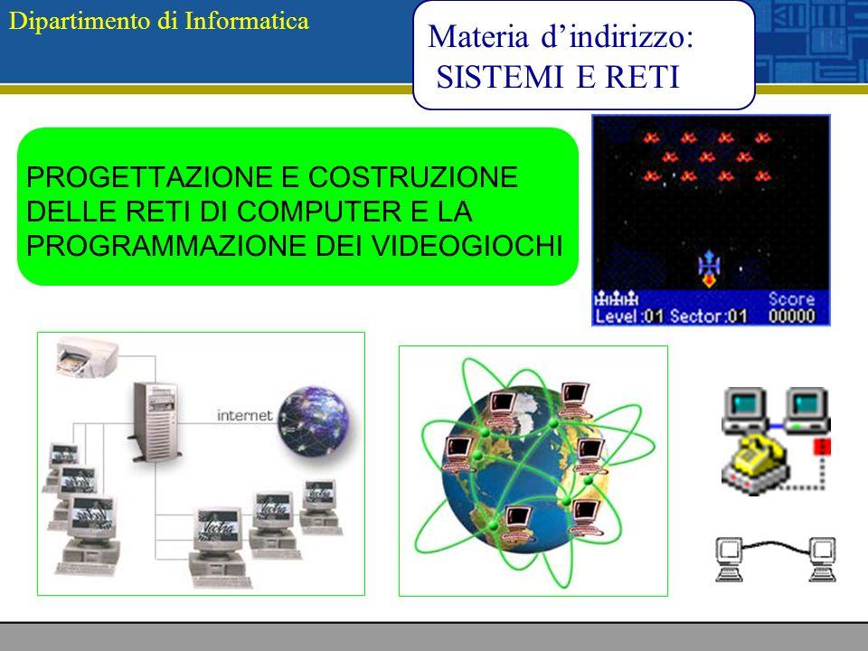 Dipartimento di Informatica Materia dindirizzo: SISTEMI E RETI PROGETTAZIONE E COSTRUZIONE DELLE RETI DI COMPUTER E LA PROGRAMMAZIONE DEI VIDEOGIOCHI