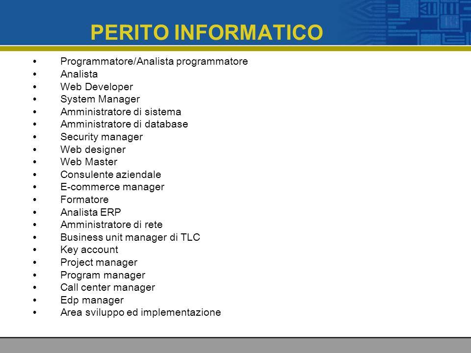 PERITO INFORMATICO Programmatore/Analista programmatore Analista Web Developer System Manager Amministratore di sistema Amministratore di database Sec