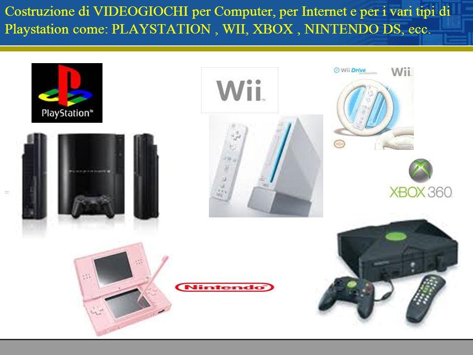 Costruzione di VIDEOGIOCHI per Computer, per Internet e per i vari tipi di Playstation come: PLAYSTATION, WII, XBOX, NINTENDO DS, ecc.