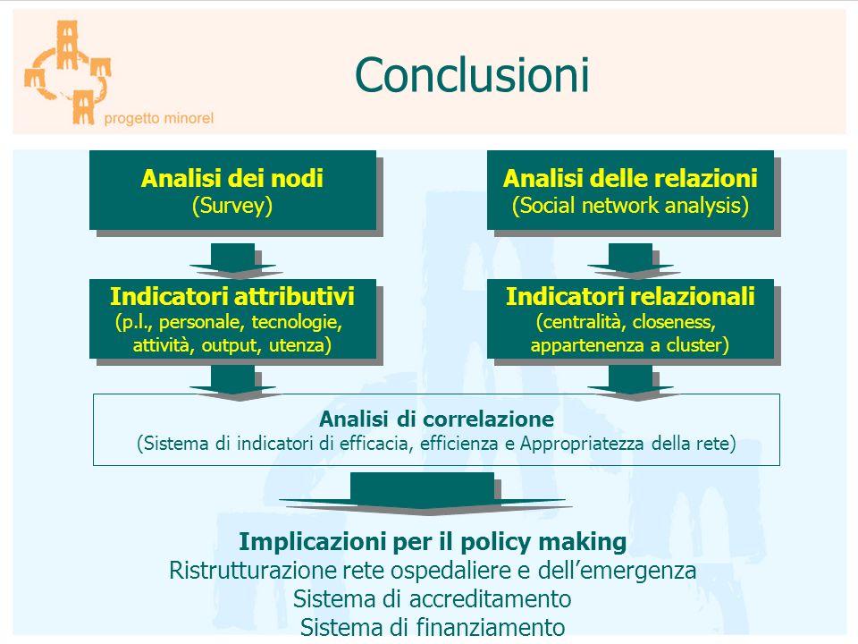 Conclusioni Analisi dei nodi (Survey) Analisi dei nodi (Survey) Indicatori attributivi (p.l., personale, tecnologie, attività, output, utenza) Indicat