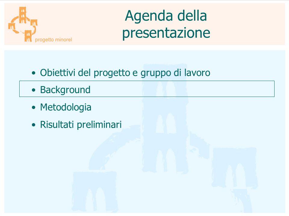 Obiettivi del progetto e gruppo di lavoro Background Metodologia Risultati preliminari Agenda della presentazione