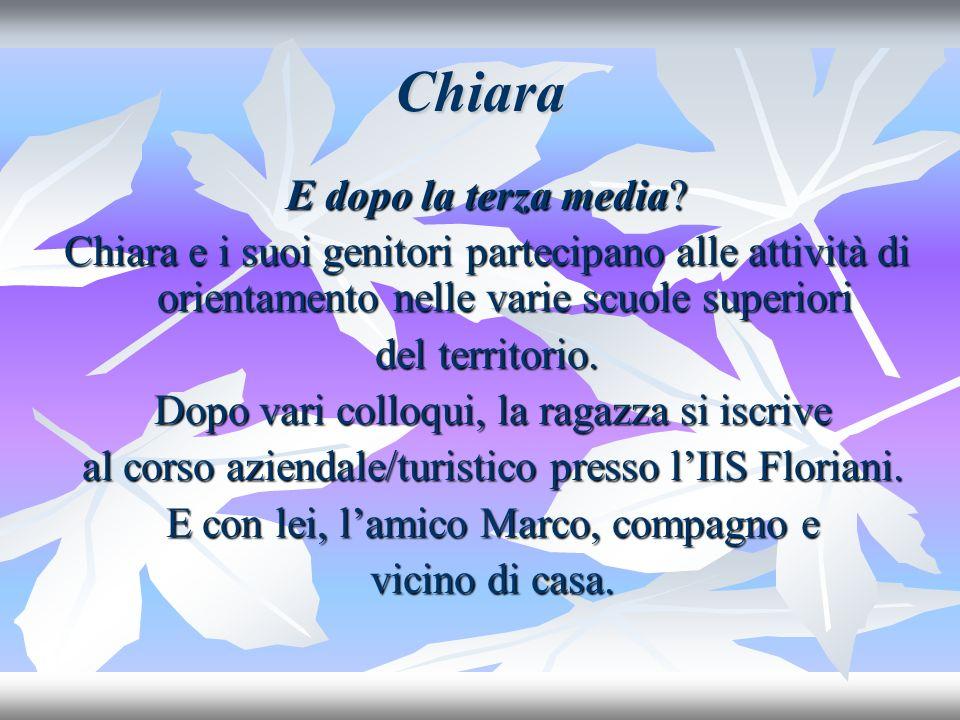 Chiara E inserita in una classe molto accogliente, tutti i ragazzi sono cordiali con lei e la coinvolgono nelle varie attività.