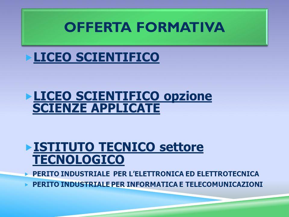 OFFERTA FORMATIVA LICEO SCIENTIFICO LICEO SCIENTIFICO opzione SCIENZE APPLICATE ISTITUTO TECNICO settore TECNOLOGICO PERITO INDUSTRIALE PER LELETTRONI
