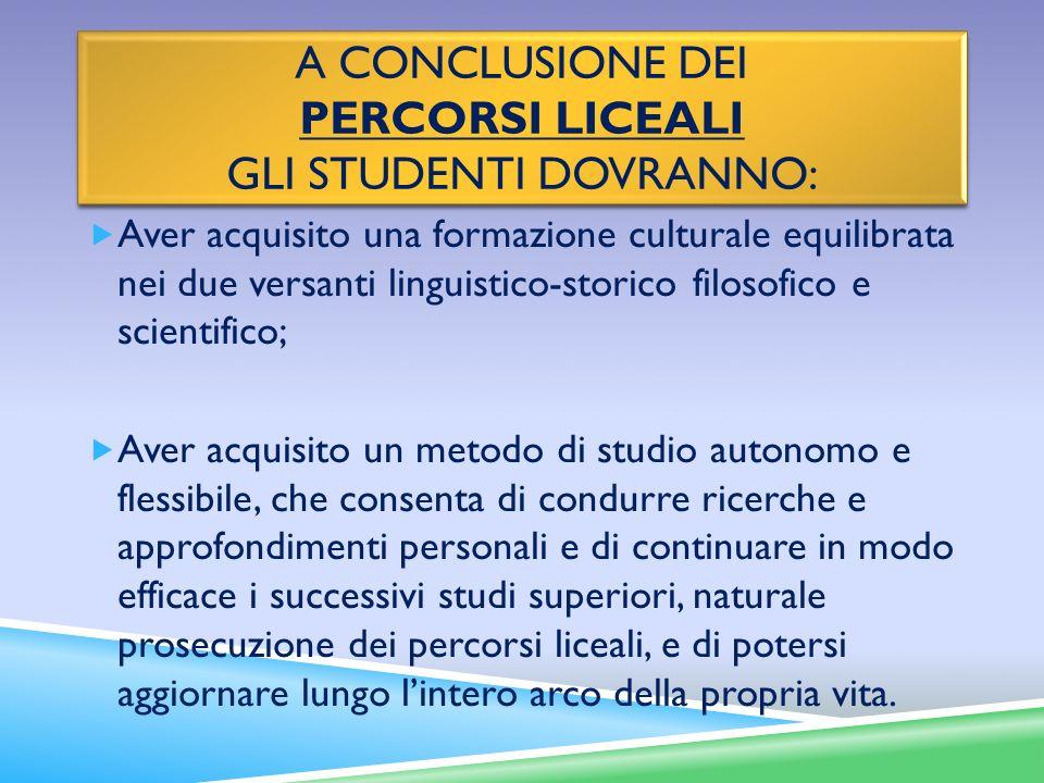 A CONCLUSIONE DEI PERCORSI LICEALI GLI STUDENTI DOVRANNO: Aver acquisito una formazione culturale equilibrata nei due versanti linguistico-storico fil