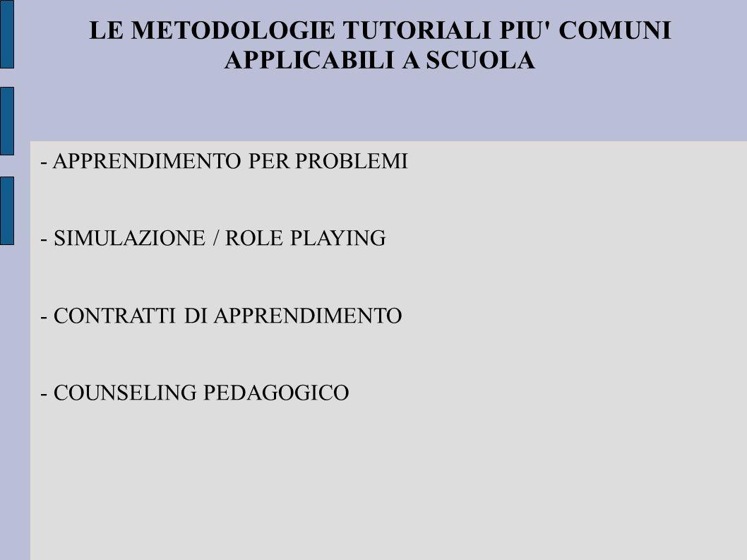 LE METODOLOGIE TUTORIALI PIU' COMUNI APPLICABILI A SCUOLA - APPRENDIMENTO PER PROBLEMI - SIMULAZIONE / ROLE PLAYING - CONTRATTI DI APPRENDIMENTO - COU