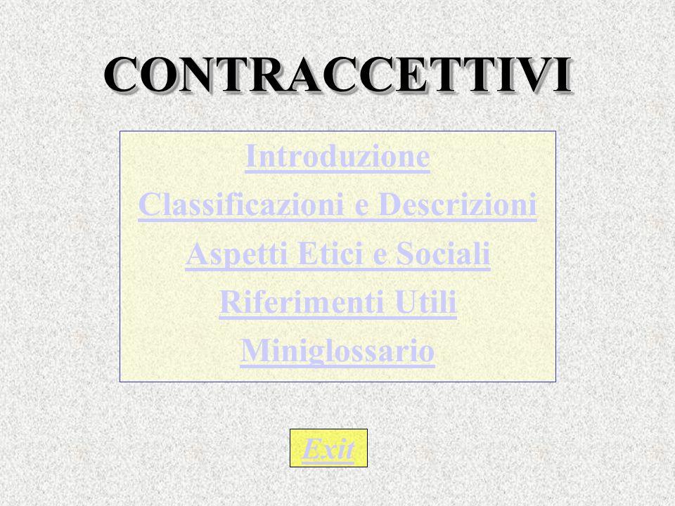 CONTRACCETTIVI CONTRACCETTIVI Introduzione Classificazioni e Descrizioni Aspetti Etici e Sociali Riferimenti Utili Miniglossario Exit