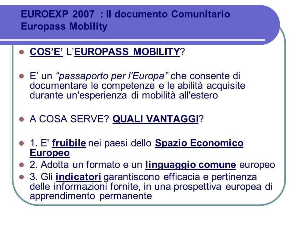 COSE LEUROPASS MOBILITY? E un passaporto per l'Europa che consente di documentare le competenze e le abilità acquisite durante un'esperienza di mobili
