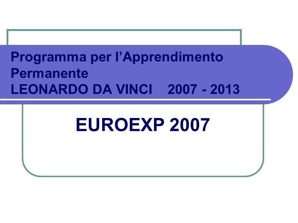 Programma per lApprendimento Permanente LEONARDO DA VINCI 2007 - 2013 EUROEXP 2007