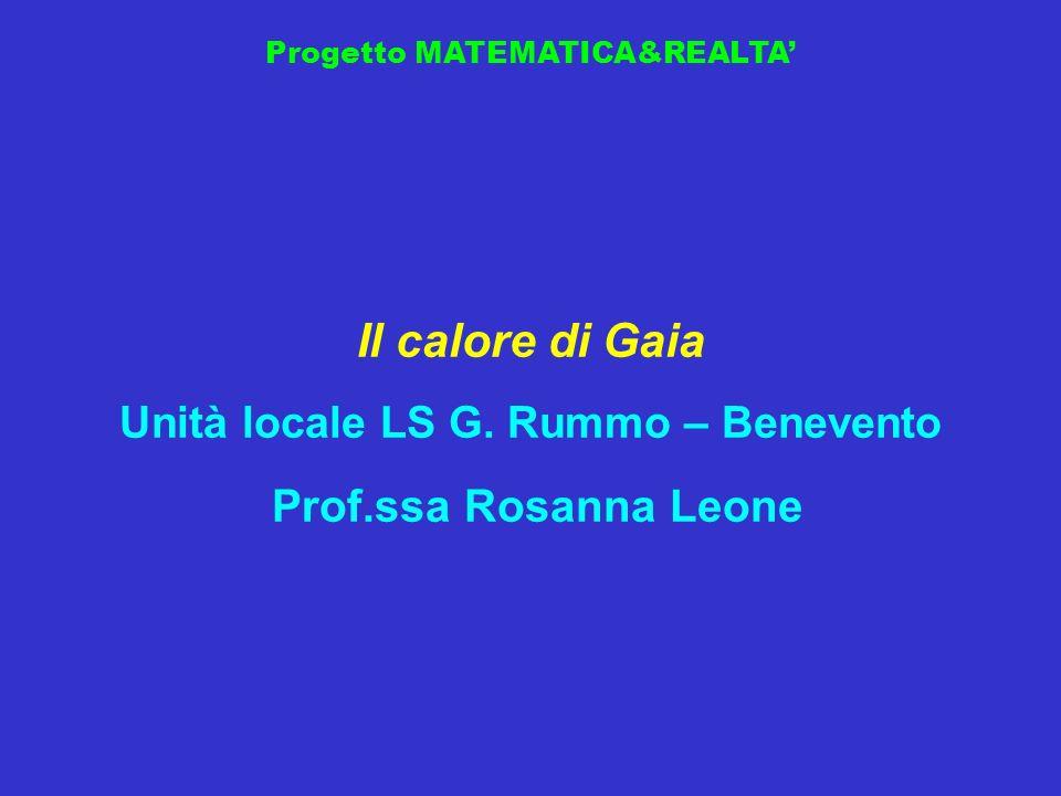 Progetto MATEMATICA&REALTA Il calore di Gaia Unità locale LS G. Rummo – Benevento Prof.ssa Rosanna Leone