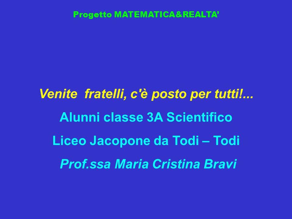 Progetto MATEMATICA&REALTA Venite fratelli, c'è posto per tutti!... Alunni classe 3A Scientifico Liceo Jacopone da Todi – Todi Prof.ssa Maria Cristina