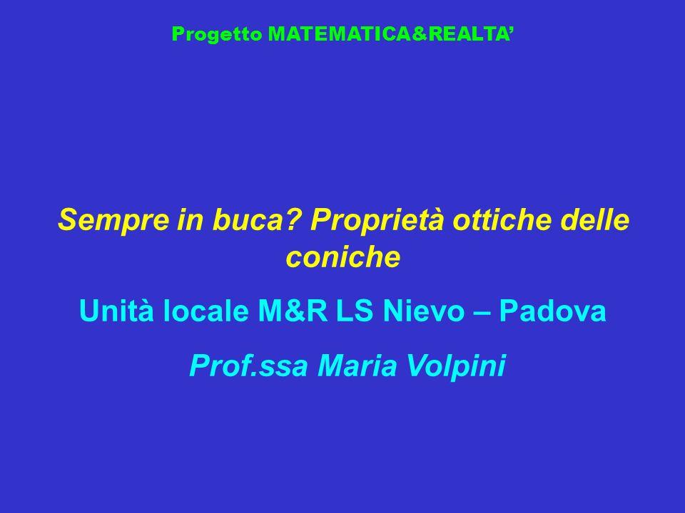 Progetto MATEMATICA&REALTA Sempre in buca? Proprietà ottiche delle coniche Unità locale M&R LS Nievo – Padova Prof.ssa Maria Volpini