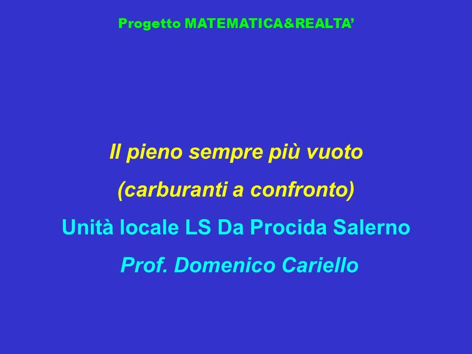 Progetto MATEMATICA&REALTA Il pieno sempre più vuoto (carburanti a confronto) Unità locale LS Da Procida Salerno Prof. Domenico Cariello