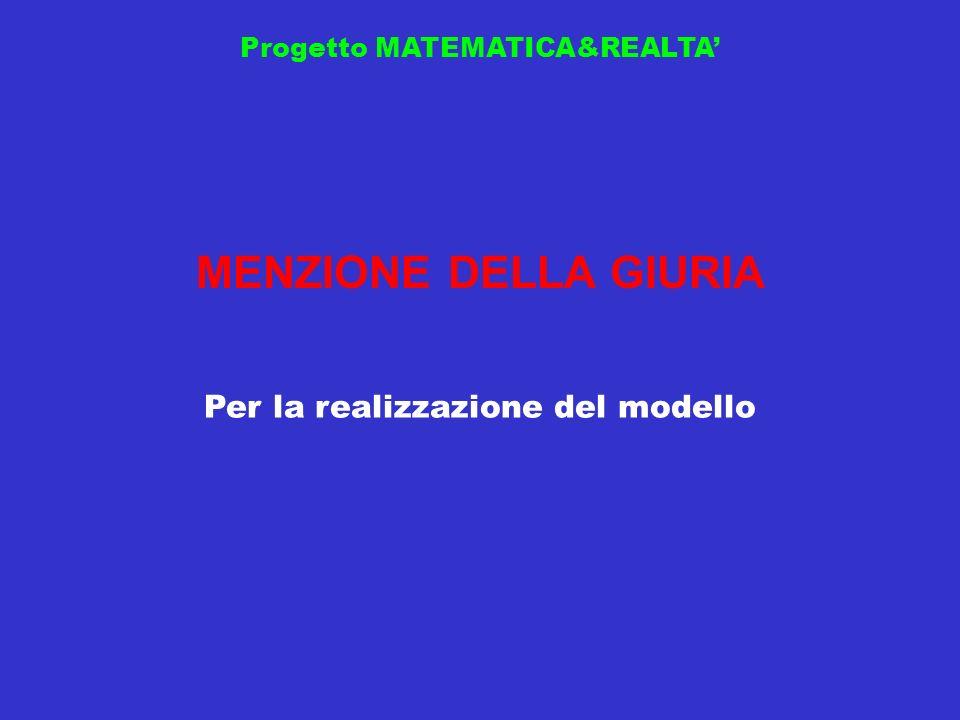Progetto MATEMATICA&REALTA MENZIONE DELLA GIURIA Per la realizzazione del modello