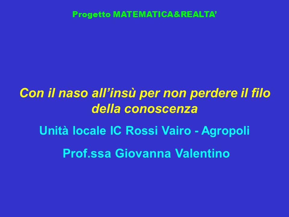 Progetto MATEMATICA&REALTA Con il naso allinsù per non perdere il filo della conoscenza Unità locale IC Rossi Vairo - Agropoli Prof.ssa Giovanna Valen