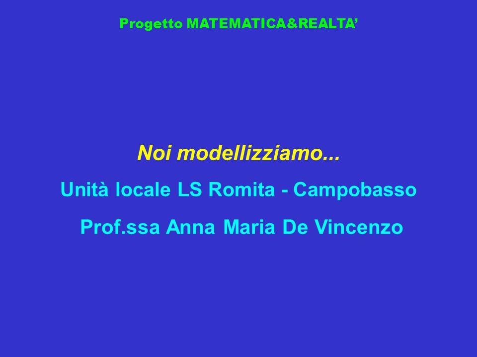 Progetto MATEMATICA&REALTA Noi modellizziamo... Unità locale LS Romita - Campobasso Prof.ssa Anna Maria De Vincenzo