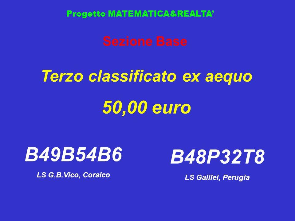 Progetto MATEMATICA&REALTA Sezione Base Terzo classificato ex aequo 50,00 euro B49B54B6 LS G.B.Vico, Corsico B48P32T8 LS Galilei, Perugia