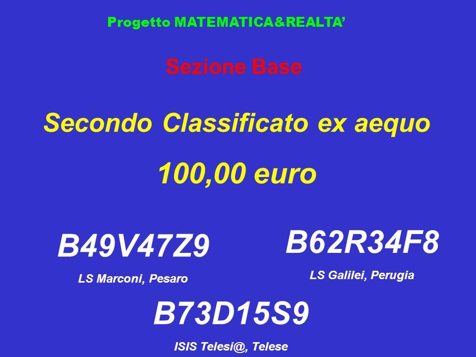 Progetto MATEMATICA&REALTA Sezione Base Secondo Classificato ex aequo 100,00 euro B49V47Z9 LS Marconi, Pesaro B62R34F8 LS Galilei, Perugia B73D15S9 IS