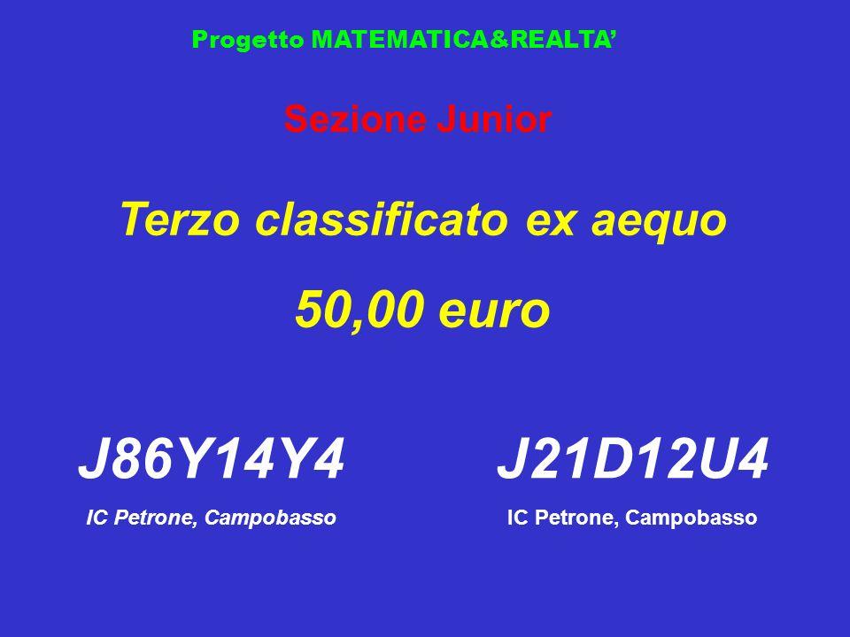 Progetto MATEMATICA&REALTA Sezione Junior Terzo classificato ex aequo 50,00 euro J86Y14Y4 IC Petrone, Campobasso J21D12U4 IC Petrone, Campobasso