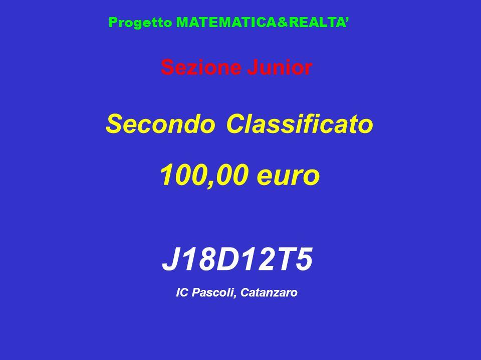 Progetto MATEMATICA&REALTA Sezione Junior Secondo Classificato 100,00 euro J18D12T5 IC Pascoli, Catanzaro