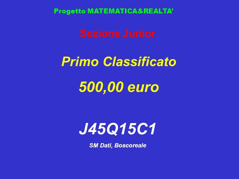 Progetto MATEMATICA&REALTA Sezione Junior Primo Classificato 500,00 euro J45Q15C1 SM Dati, Boscoreale