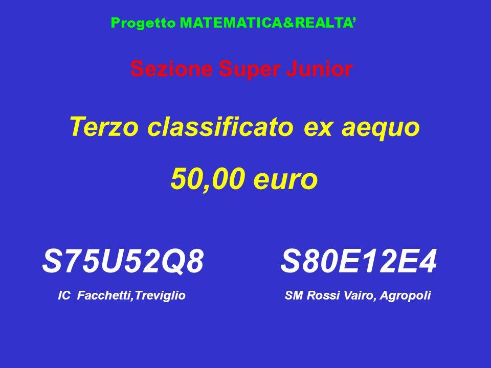 Progetto MATEMATICA&REALTA Sezione Super Junior Terzo classificato ex aequo 50,00 euro S75U52Q8 IC Facchetti,Treviglio S80E12E4 SM Rossi Vairo, Agropo