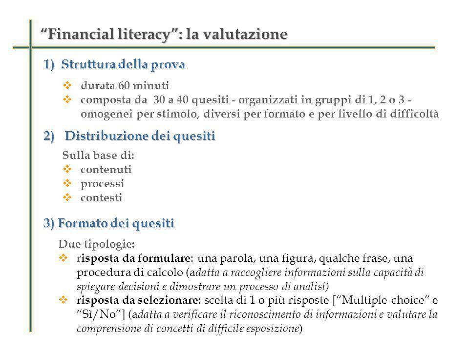 Financial literacy: la valutazioneFinancial literacy: la valutazione 1)Struttura della prova 2) Distribuzione dei quesiti 3) Formato dei quesiti durat