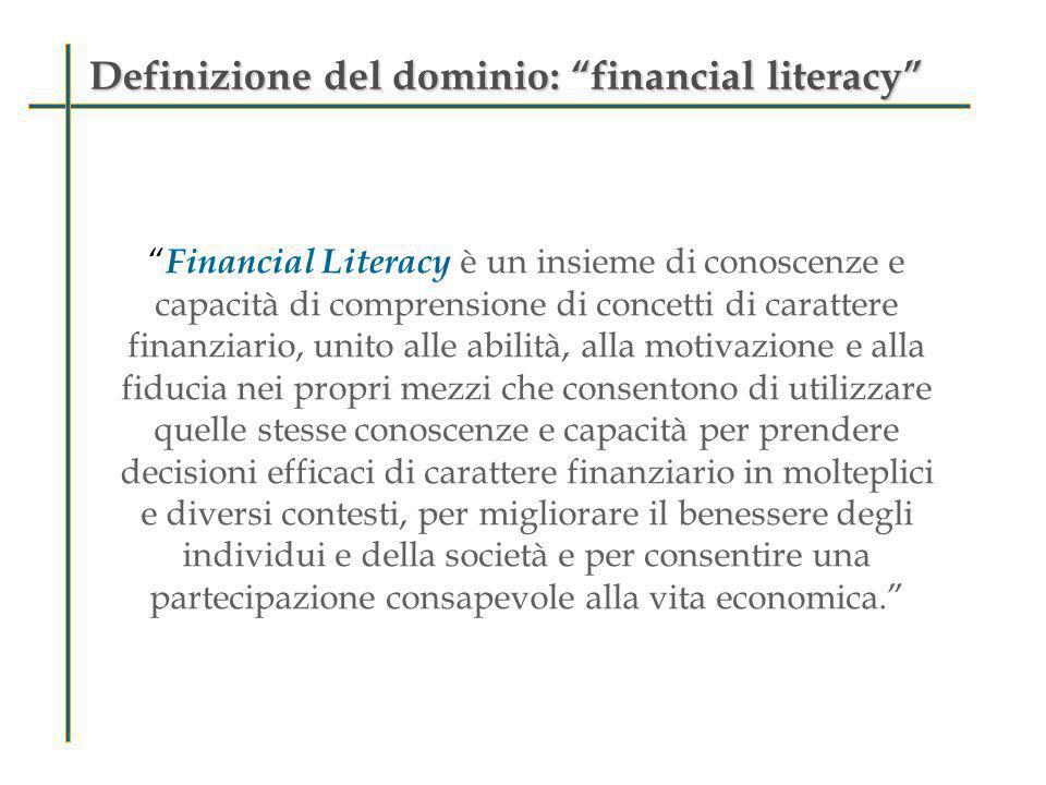 Financial literacy: organizzazione del dominioFinancial literacy: organizzazione del dominio contenuti contesti processi Situazioni personali e generali nelle quali si trova il ragazzo Strategie mentali o attività del processo cognitivo Aree di conoscenza e comprensione che sono essenziali per la materia finanziaria