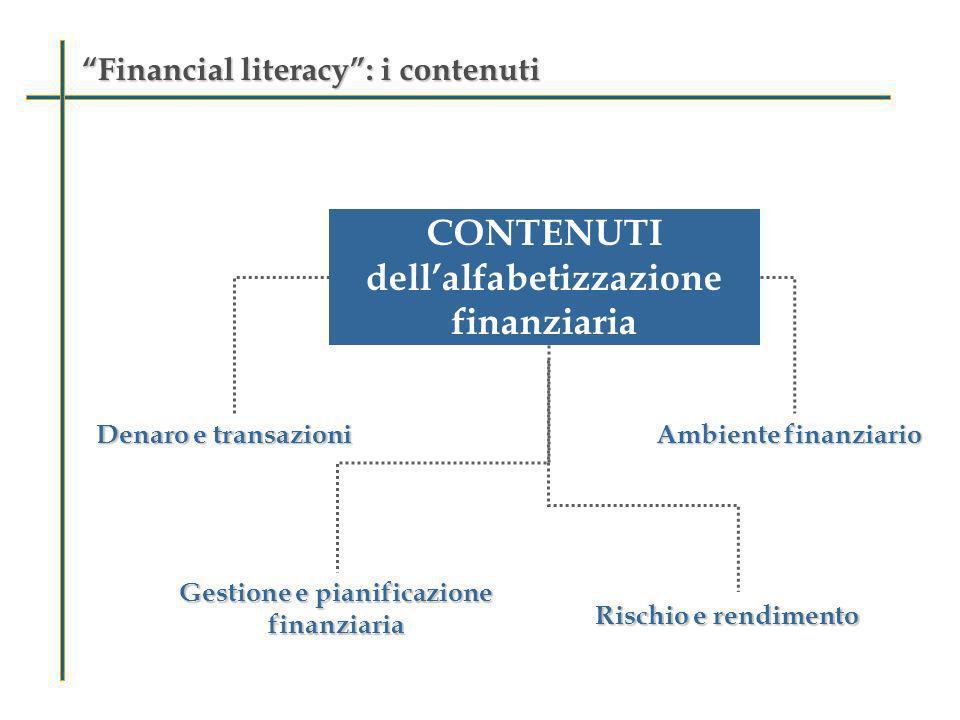 Financial literacy: i processiFinancial literacy: i processi PROCESSI dellalfabetizzazione finanziaria Riconoscere le informazioni finanziarie Analizzare le informazioni nel contesto finanziario Valutare la problematica finanziaria Applicare la conoscenza finanziaria