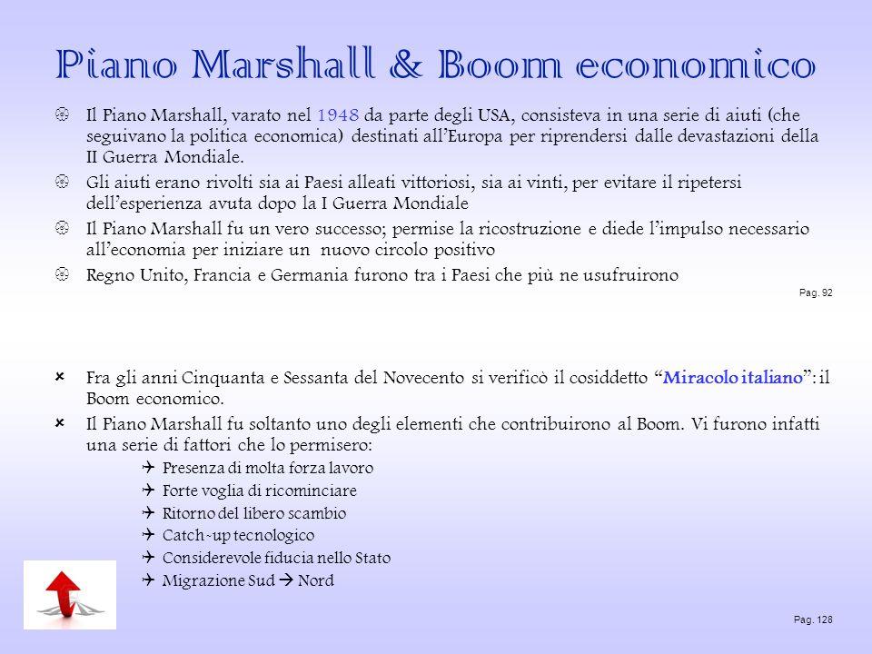 Piano Marshall & Boom economico Il Piano Marshall, varato nel 1948 da parte degli USA, consisteva in una serie di aiuti (che seguivano la politica eco