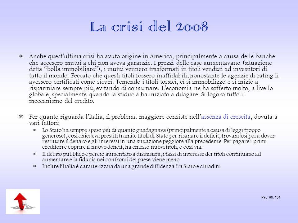 La crisi del 2008 Anche questultima crisi ha avuto origine in America, principalmente a causa delle banche che accesero mutui a chi non aveva garanzie