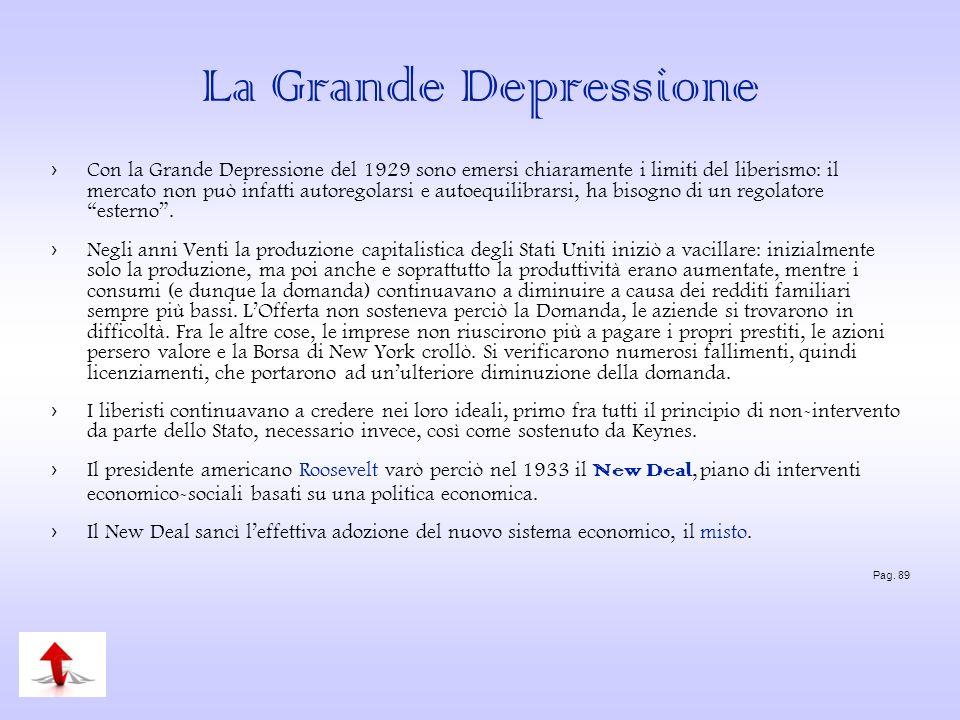 La Grande Depressione Con la Grande Depressione del 1929 sono emersi chiaramente i limiti del liberismo: il mercato non può infatti autoregolarsi e au