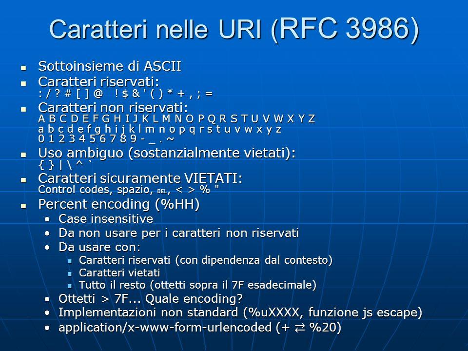 Caratteri nelle URI ( RFC 3986) Sottoinsieme di ASCII Sottoinsieme di ASCII Caratteri riservati: : / ? # [ ] @ ! $ & ' ( ) * +, ; = Caratteri riservat
