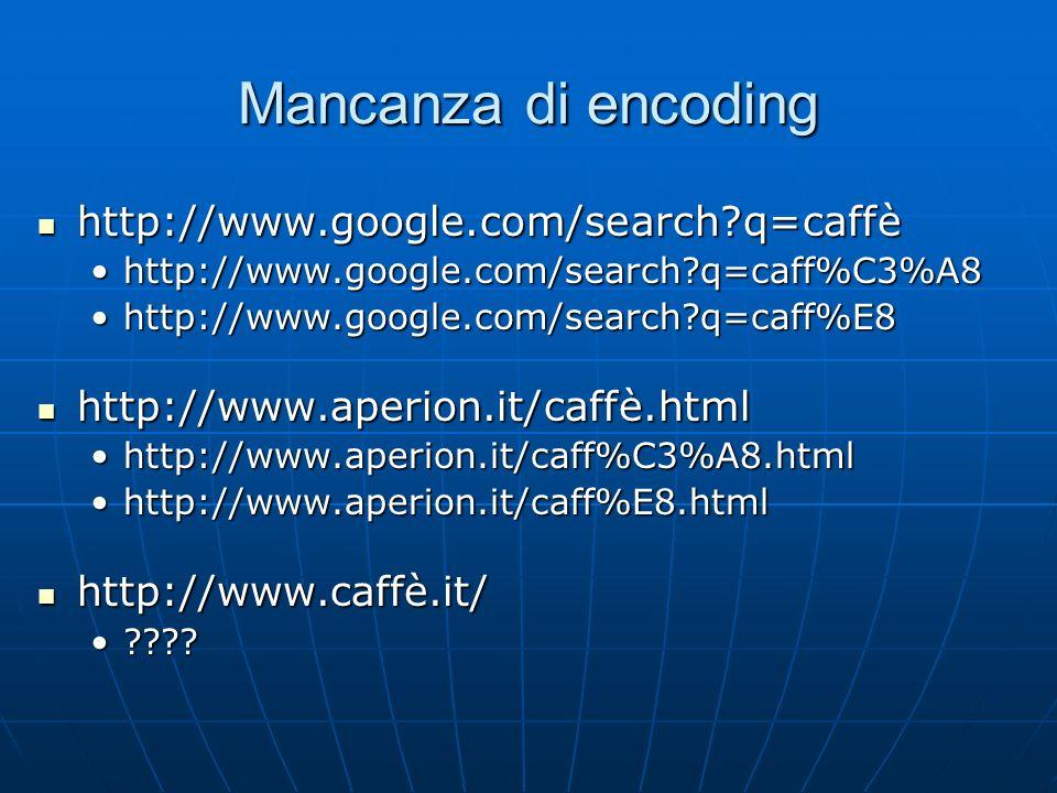 Mancanza di encoding http://www.google.com/search?q=caffè http://www.google.com/search?q=caffè http://www.google.com/search?q=caff%C3%A8http://www.goo