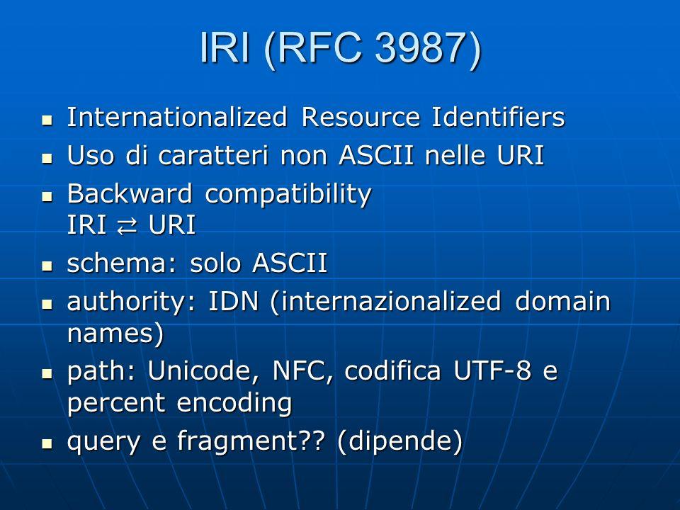 IRI (RFC 3987) Internationalized Resource Identifiers Internationalized Resource Identifiers Uso di caratteri non ASCII nelle URI Uso di caratteri non