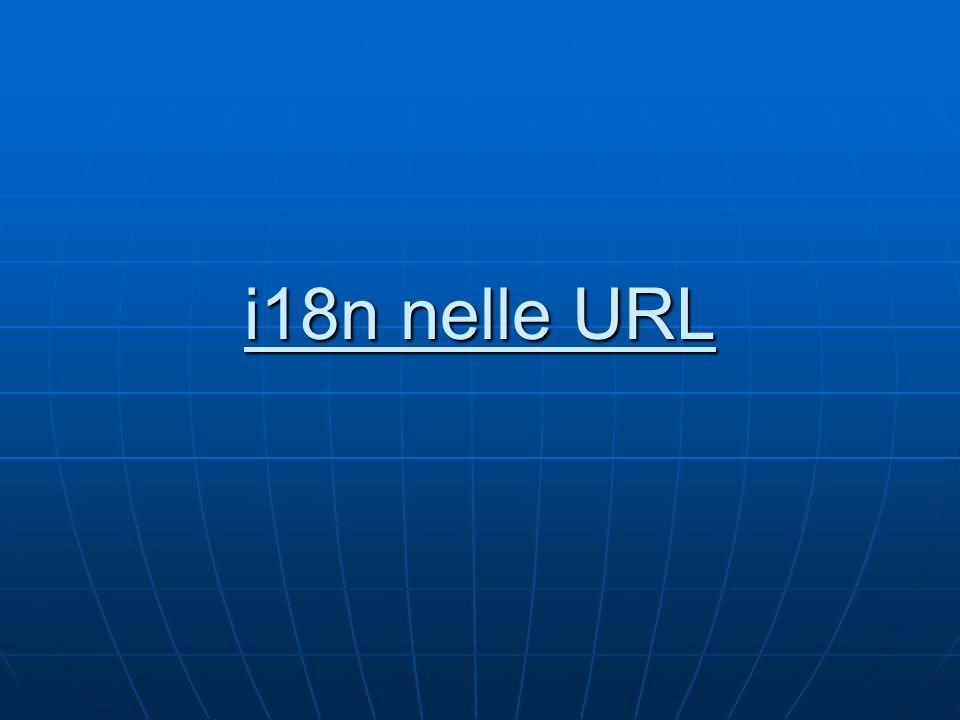 Bi-di in CSS Esistono le proprietà (da usare insieme): direction: { ltr   rtl } ; unicode-bidi: { bidi-override   embed   normal   inherit } ; direction ha lo stesso significato dellattributo dir di HTML unicode-bidi specifica il comportamento degli elementi in linea (max 15 livelli di annidamento) Mal supportato in Internet Explorer fino alla versione 7 inclusa N.B.: il markup HTML è sufficiente e raccomandato http://www.w3.org/International/tutorials/bi di-xhtml/