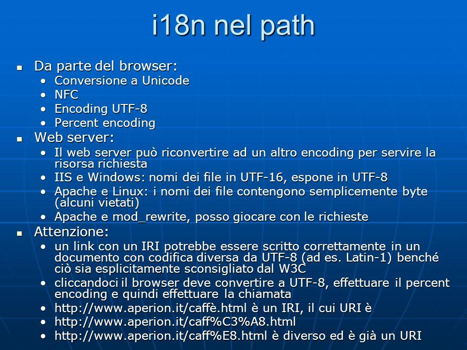 i18n nel path Da parte del browser: Da parte del browser: Conversione a UnicodeConversione a Unicode NFCNFC Encoding UTF-8Encoding UTF-8 Percent encod