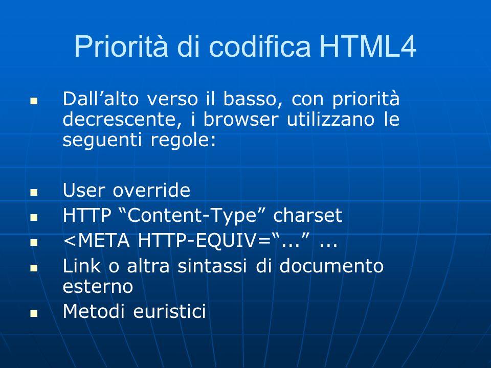 Priorità di codifica HTML4 Dallalto verso il basso, con priorità decrescente, i browser utilizzano le seguenti regole: User override HTTP Content-Type