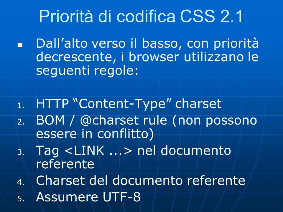 Priorità di codifica CSS 2.1 Dallalto verso il basso, con priorità decrescente, i browser utilizzano le seguenti regole: 1. 1. HTTP Content-Type chars