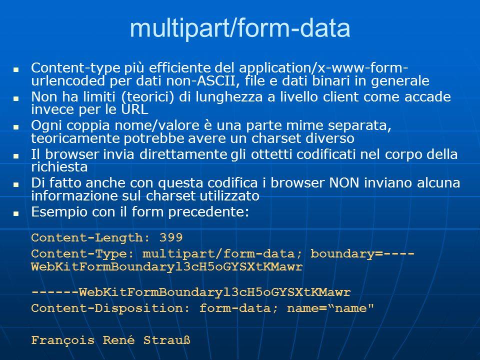 multipart/form-data Content-type più efficiente del application/x-www-form- urlencoded per dati non-ASCII, file e dati binari in generale Non ha limit