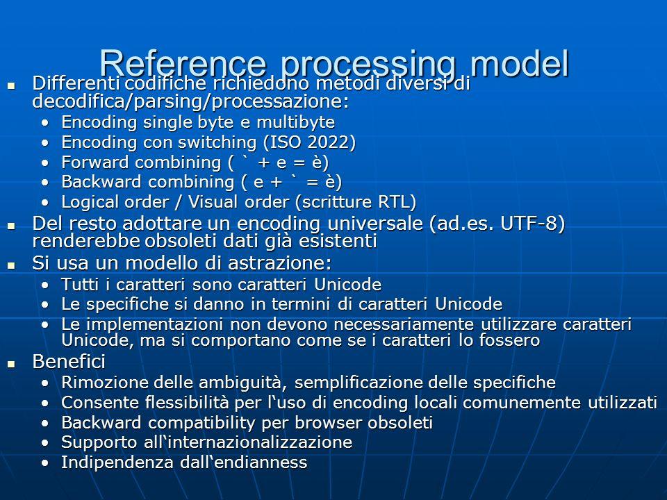 Reference processing model Differenti codifiche richiedono metodi diversi di decodifica/parsing/processazione: Differenti codifiche richiedono metodi