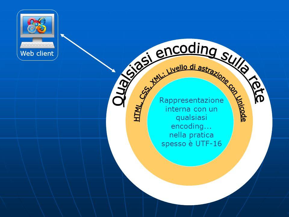 Web client Rappresentazione interna con un qualsiasi encoding... nella pratica spesso è UTF-16
