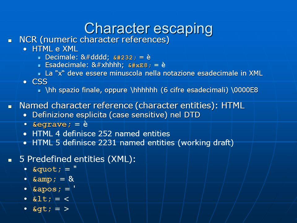 Character escaping NCR (numeric character references) NCR (numeric character references) HTML e XMLHTML e XML Decimale: &#dddd; è = è Decimale: &