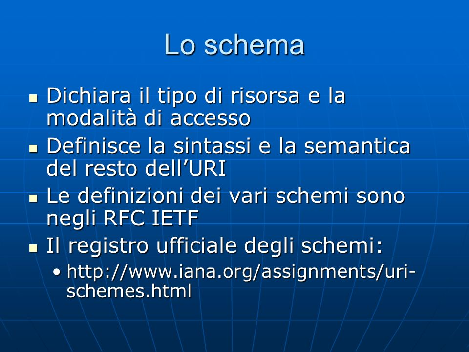 Lo schema Dichiara il tipo di risorsa e la modalità di accesso Dichiara il tipo di risorsa e la modalità di accesso Definisce la sintassi e la semanti