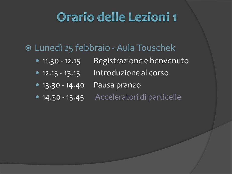 Lunedì 25 febbraio - Aula Touschek 11.30 - 12.15Registrazione e benvenuto 12.15 - 13.15Introduzione al corso 13.30 - 14.40Pausa pranzo 14.30 - 15.45 Acceleratori di particelle